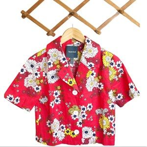 Modcloth Red Floral Crop Shirt Jacket Size Small